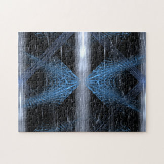 Abstract in Blue White and Black. Jigsaw Puzzle