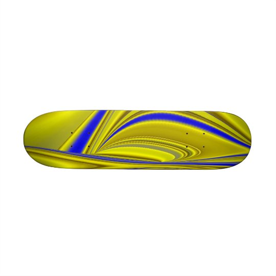 Abstract in gold-yellow blue 20 cm skateboard deck