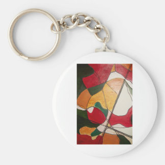 abstract in red and gold basic round button key ring