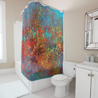 Abstract in Red and Turquoise Shower Curtain