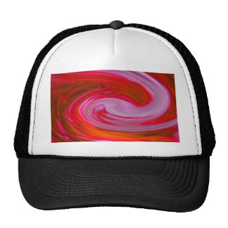 abstract in red mesh hat
