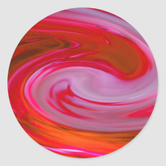 abstract in red round sticker