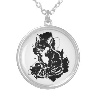 Abstract Ink Fox Necklace