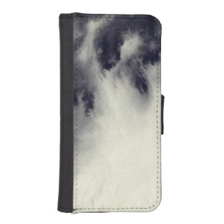 Abstract ink painting on grunge paper texture. iPhone SE/5/5s wallet case