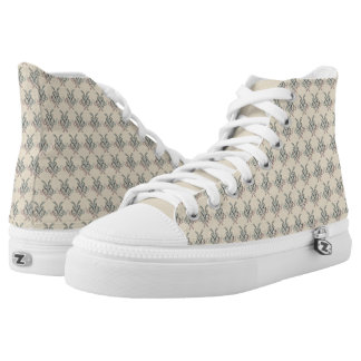 Abstract Ink Print High Top Shoes