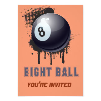 Abstract Ink Splotch with BILLIARD ball and TEXT 13 Cm X 18 Cm Invitation Card