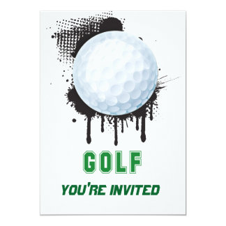 Abstract Ink Splotch with GOLF ball and TEXT 13 Cm X 18 Cm Invitation Card