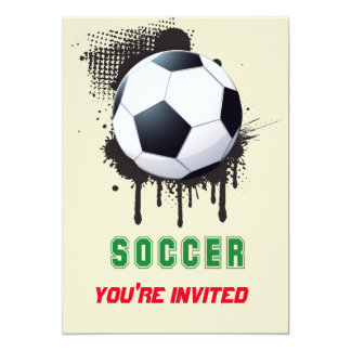 Abstract Ink Splotch with SOCCERT ball and TEXT 13 Cm X 18 Cm Invitation Card