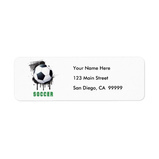 Abstract Ink Splotch with SOCCERT ball and TEXT Return Address Label