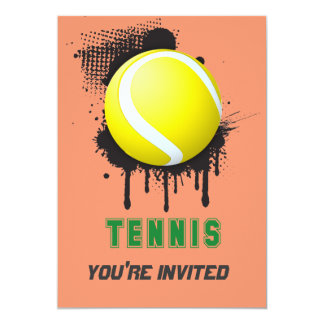 Abstract Ink Splotch with TENNIS ball and TEXT 13 Cm X 18 Cm Invitation Card