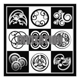 Abstract Invitation - Multi Purpose Black White Custom Announcements