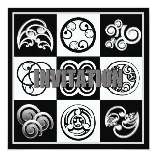 Abstract Invitation - Multi Purpose Black & White Custom Announcements
