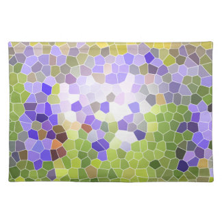Abstract Iris Stained Glass Flower Violet Mosaic Placemat