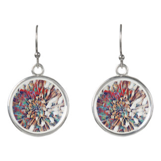 Abstract Japanese Design Multi-color Flower Earrings