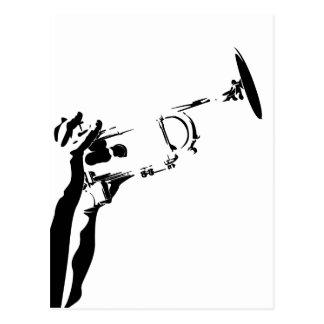Abstract Jazz Trumpet Postcard
