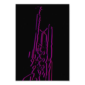 "Abstract Jazz Trumpet RSVP Card 3.5"" X 5"" Invitation Card"