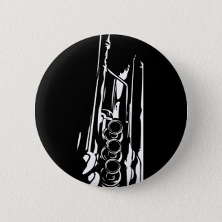 Abstract Jazz Trumpet Silhouette 6 Cm Round Badge