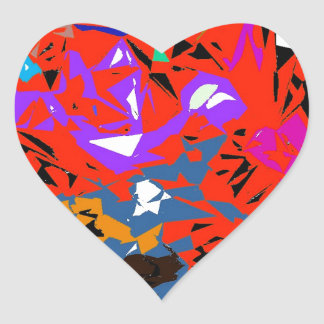 Abstract Jungle Red Heart Sticker