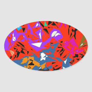 Abstract Jungle Red Oval Sticker