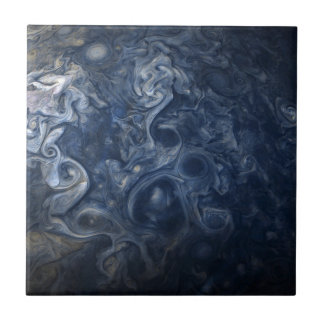Abstract Jupiter Blues Space Ceramic Tile