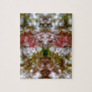Abstract kaleidoscope figure and faces jigsaw puzzle