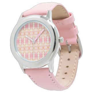 Abstract Kaleidoscope Pattern Pink & Yellow Watch