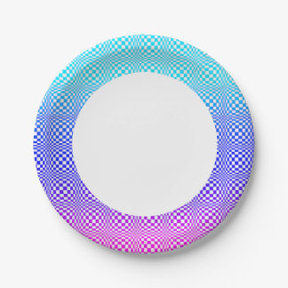 Abstract L Blue Pink n Purple Paper Plate