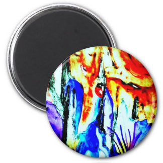 Abstract Lady 6 Cm Round Magnet