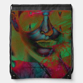 Abstract Lady Drawstring Backpack