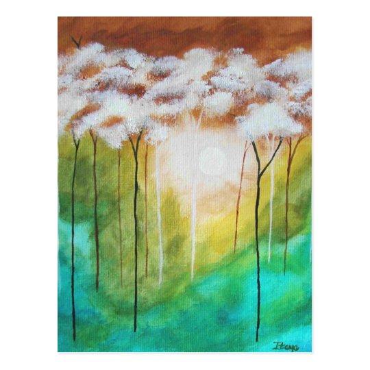 Abstract Landscape Art Dawn Light Skinny Trees Postcard