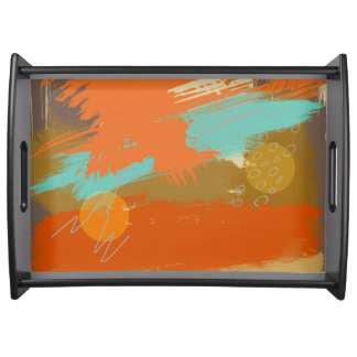 Abstract Landscape Art Paint Circles Spheres Serving Tray