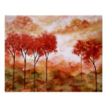 Abstract Landscape Art, Red Skinny Trees Autumn Poster