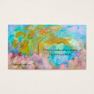Abstract Landscape Art Tree Pink Aqua Flowers Business Card
