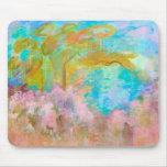 Abstract Landscape Art Tree Pink Aqua Flowers Mouse Mat