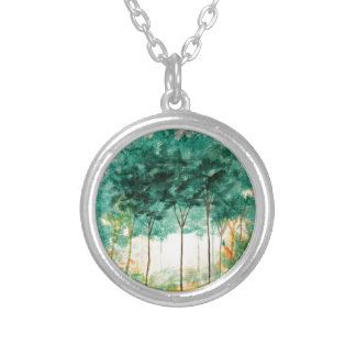 Abstract Landscape Art Trees Forest Painting Pendant