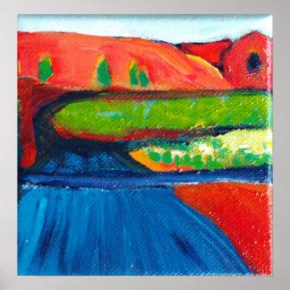 Abstract landscape desert roadway poster
