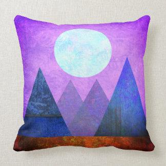 Abstract Landscape Full Moon Mountains Purple Sky Cushion