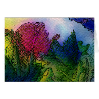 Abstract Landscape in Watercolors - Foggy Sunrise Card