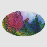 Abstract Landscape in Watercolors - Foggy Sunrise Oval Sticker