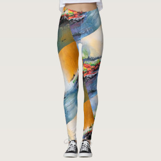 Abstract landscape painting pattern on leggings