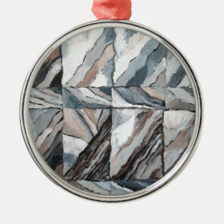 Abstract Landscape restoring itself Silver-Colored Round Decoration