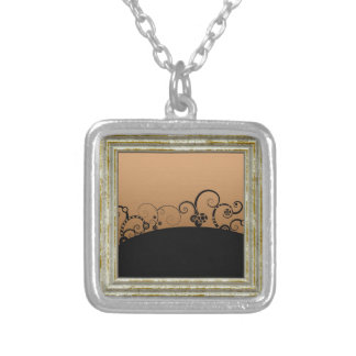 Abstract Landscape Silver Plated Necklace