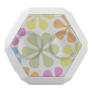 Abstract Large Flowers Bright Color Mix White Bluetooth Speaker
