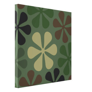 Abstract Large Flowers Camouflage Canvas Print