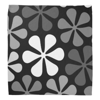 Abstract Large Flowers Monochrome Bandana