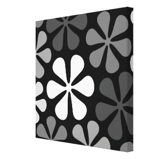 Abstract Large Flowers Monochrome Canvas Print