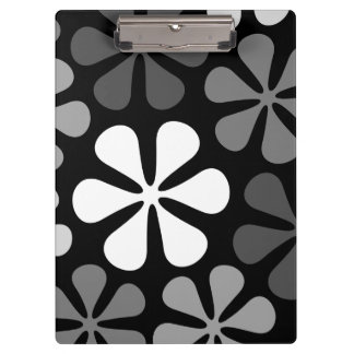 Abstract Large Flowers Monochrome Clipboard