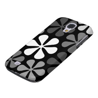Abstract Large Flowers Monochrome Galaxy S4 Case