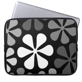 Abstract Large Flowers Monochrome Laptop Sleeve