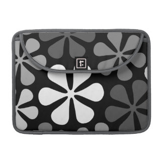 Abstract Large Flowers Monochrome Sleeve For MacBook Pro